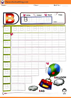Alphabet B tracing worksheet
