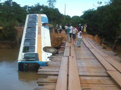 Ônibus escolar com dez estudantes cai em rio após ponte ceder
