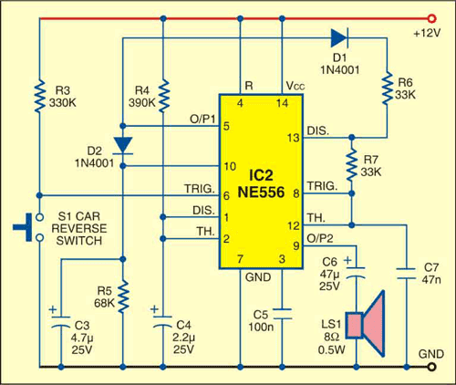 car reversing horn with flasher circuits projects rh circuits projects blogspot com Different Car Horn Circuit 1973 Corvette Horn Circuit