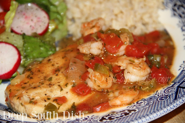 Firm white fish and shrimp, lightly seasoned and pan seared, and finished in a tomato based Creole sauce.
