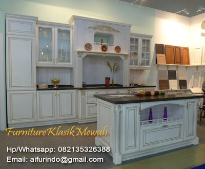 Antique furniture Indonesia,white kitchen set luxury design for Home