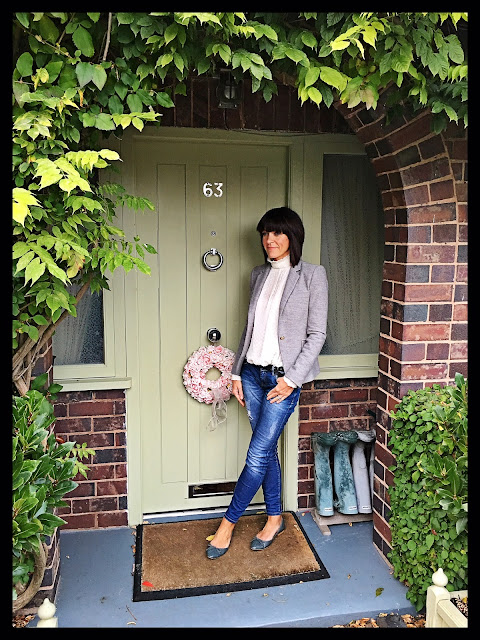 My Midlife Fashion, Zara Grey Single Breasted Blazer, Skinny distressed jeans, victoriana high neck chiffon blouse, ballet pumps