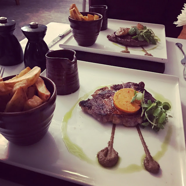 Rib eye steak, Cafe de Paris butter, Triple cooked chips at The Blue Grill, Thoresby Hall