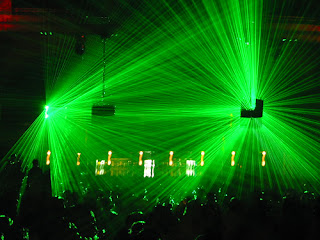 Clubbing with green strobe lights