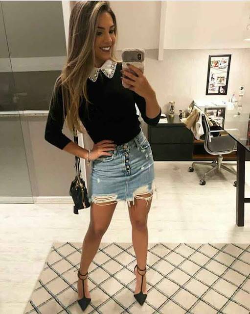 look balada: saia jeans destroyed, blusa preta justa e salto alto