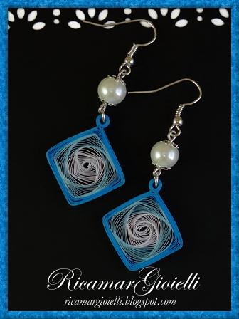 Orecchini di carta, quilling vortex quadrato blu, azzurro e bianco