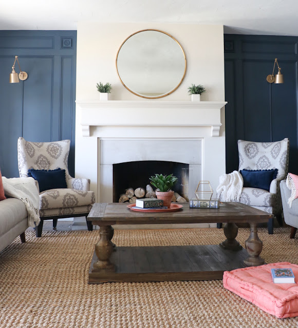 Dark blue gray walls in family room