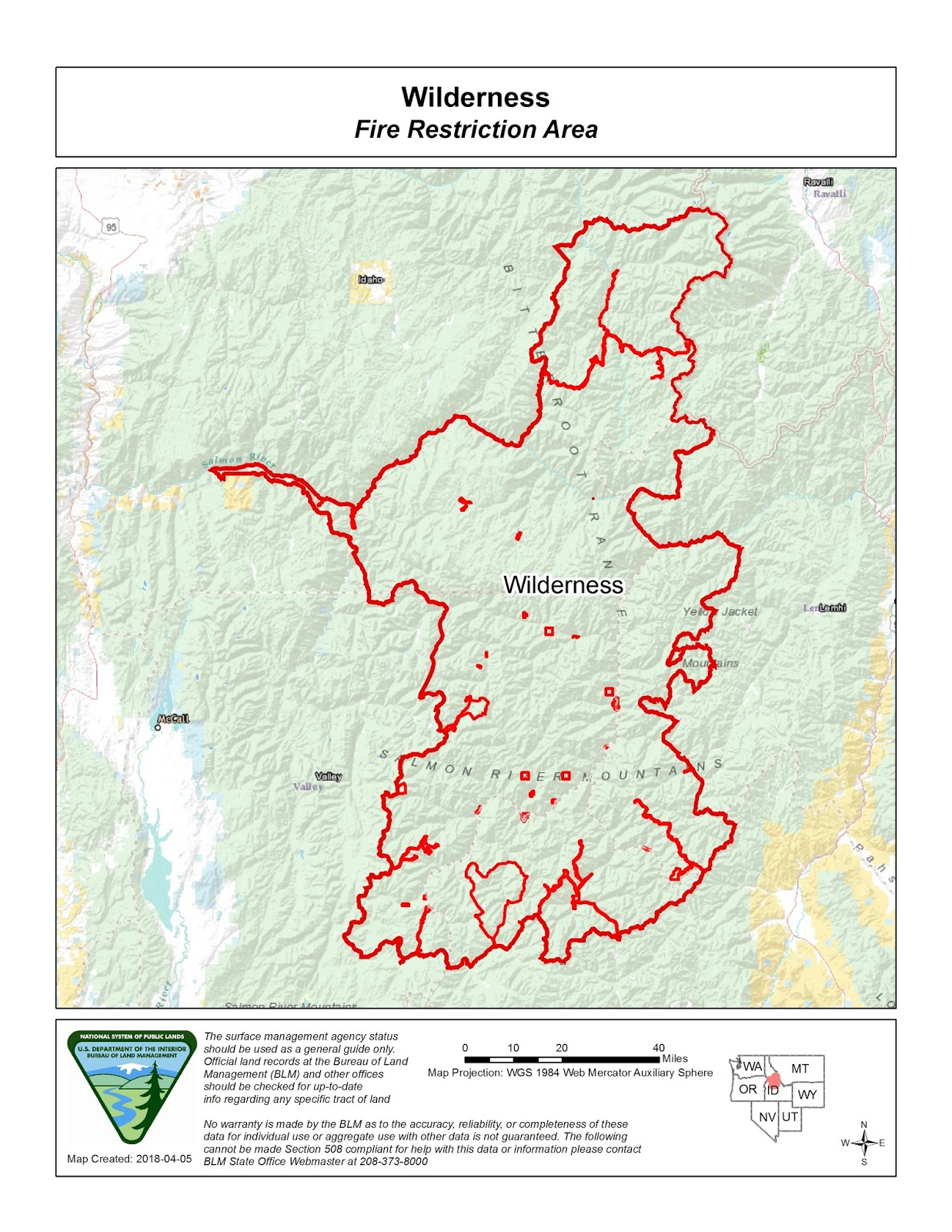 Blm Land Idaho Map.Idaho Fire Information Wilderness Fire Restrictions Area