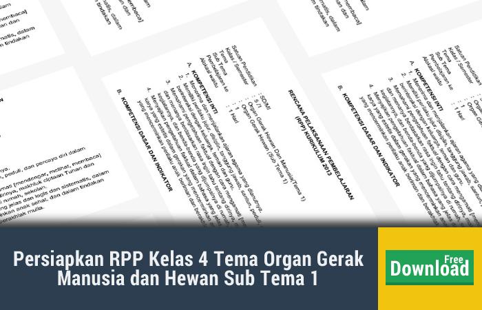 Persiapkan RPP Kelas 4 Tema Organ Gerak Manusia dan Hewan Sub Tema 1 Pembelajaran 1