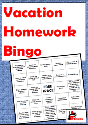 Free classroom resources - vacation homework bingo with real life activities to keep kids thinking - from Raki's Rad Resources.