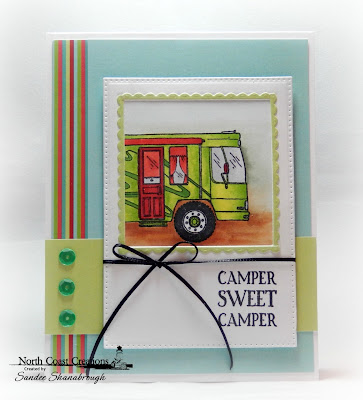 North Coast Creations Stamp Set: Camper Sweet Camper, Paper Collection: Sweet Shoppe, ODBD Custom Dies:  Bitty Borders, Pierced Rectangles, Pierced Squares