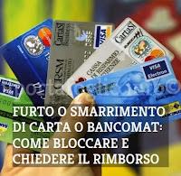carta di credito rubata o smarrita, come bloccare