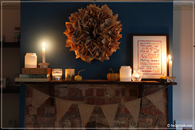 Butterfly and Blue Autumn Words Watercolour Print on Mantle Decorated for Fall