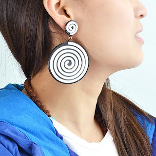 Spiral Vortex Stripe Drop Earrings - White