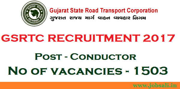 GSRTC Conductor Bharti 2017, GSRTC Conductor vacancy, 12th pass government jobs in Gujarat