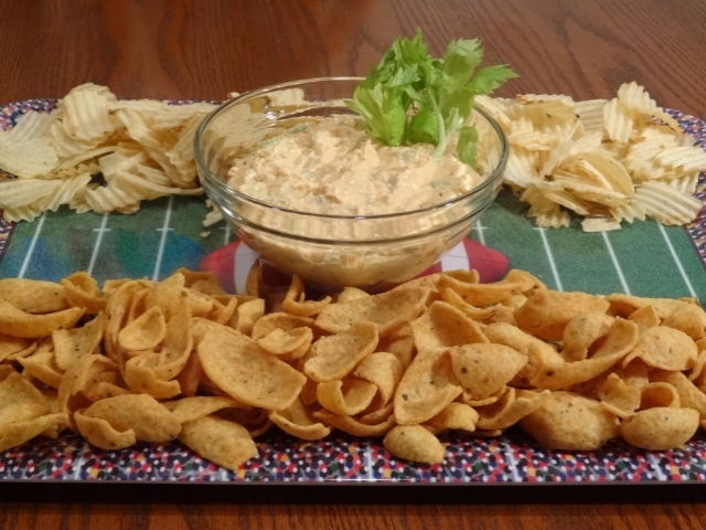 Serve hearty buffalo blue cheese dip with corn chips #football