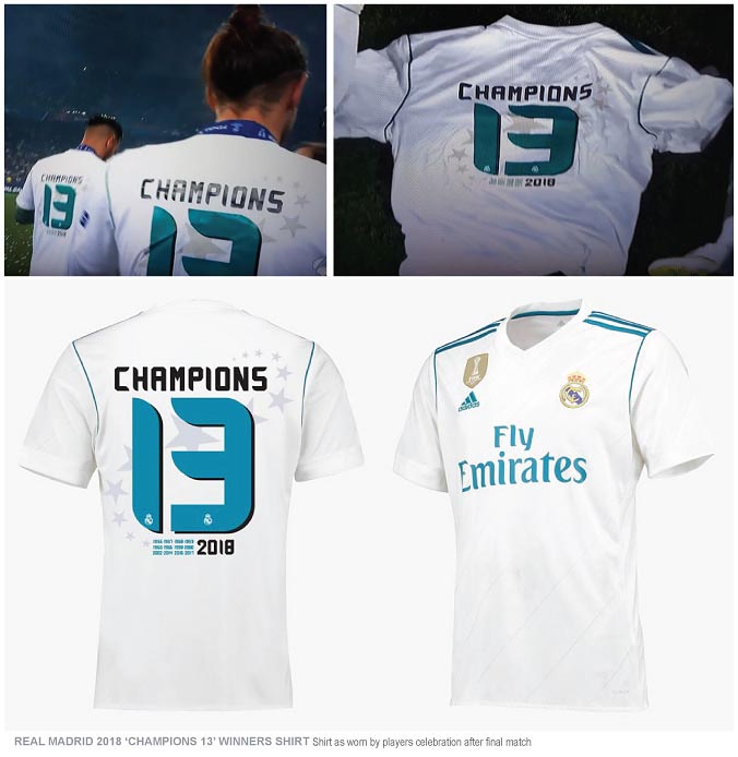 0b18e76f3b5 Additional exclusive Real Madrid home shirt base with the big  Champions  13  logo print in back as seen during the final match celerbration.