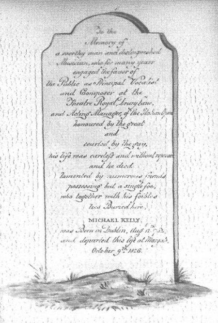 monument funéraire de Michael Kelly ténor