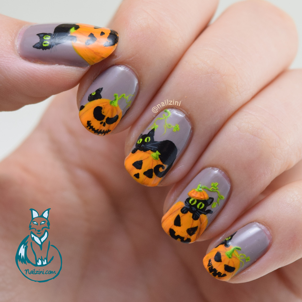Black Cats and Pumpkins Nail Art