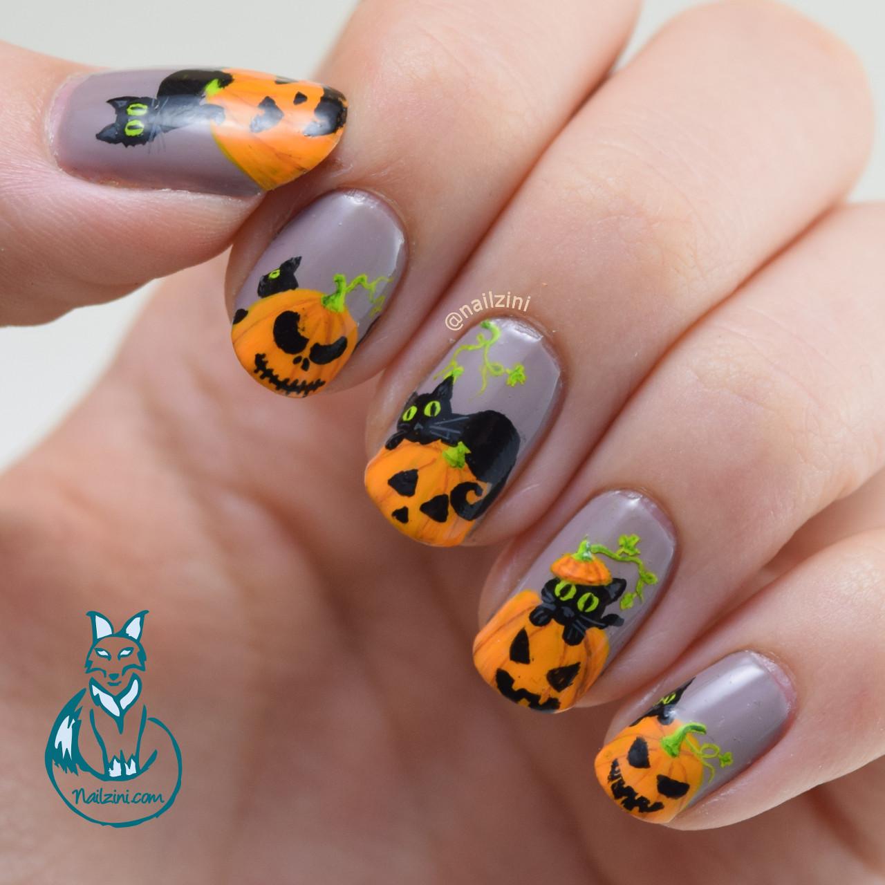 Black Cats and Pumpkins Nail Art | Nailzini: A Nail Art Blog