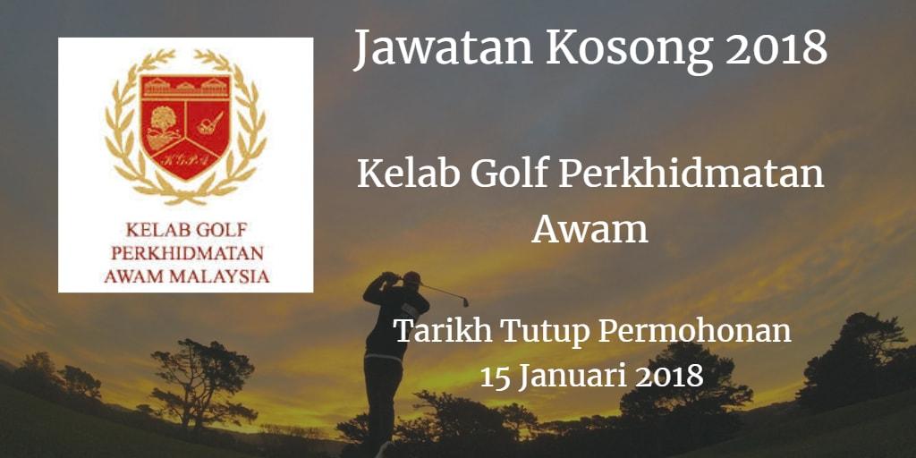Jawatan Kosong Kelab Golf Perkhidmatan Awam 15 Januari 2018