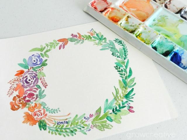 Watercolor Floral Wreath Free Printable: growcreative