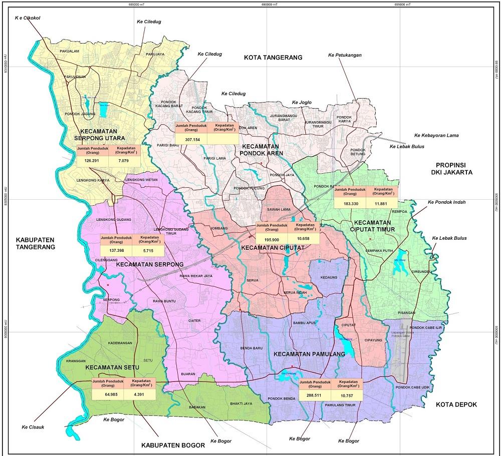 Peta Kota Tangerang Selatan