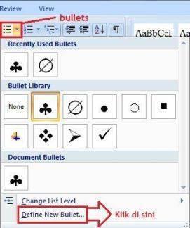 Cara memilih bullets dengan symbol berbeda di word 2007