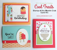 Stampin' Up! Cool Treats Card Kit ~ 2017 Occasions Catalog ~ Stamp of the Month Club card kits by Julie Davison, www.juliedavison.com/clubs