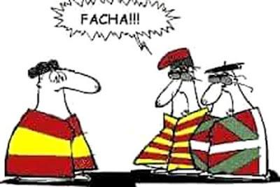 facha , catalán independiente, país vasco, estelada, ikurriña,bandera España