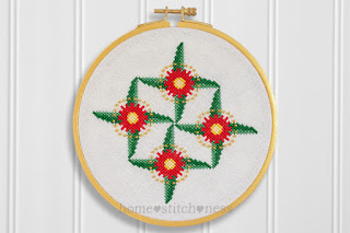 Flowering Gum in bloom Australian Christmas cross stitch pattern hoop art