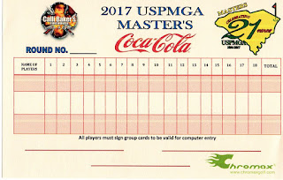 Scorecard from the 2017 USPMGA Master's minigolf competition held at the Hawaiian Rumble Mini Golf course in North Myrtle Beach. Donated by Pat Sheridan of The Putting Penguin