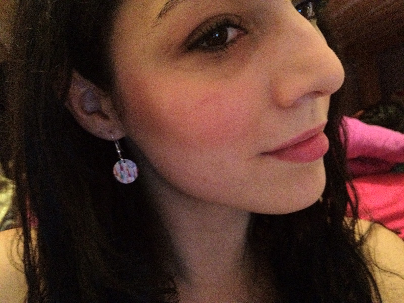 Close up of raindrop earrings