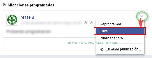 Modificar publicacion programada en Facebook - MasFB