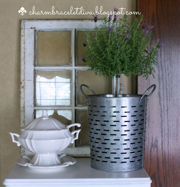 vintahe ironstone soup tureen with lavender topiary