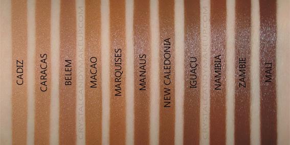 NARS Natural Radiant Longwear Foundation Swatches Caracas Belem Macao Marquises Caledonia Iguacu Namibia Zambie Mali MAC NW45 NC50 NW55