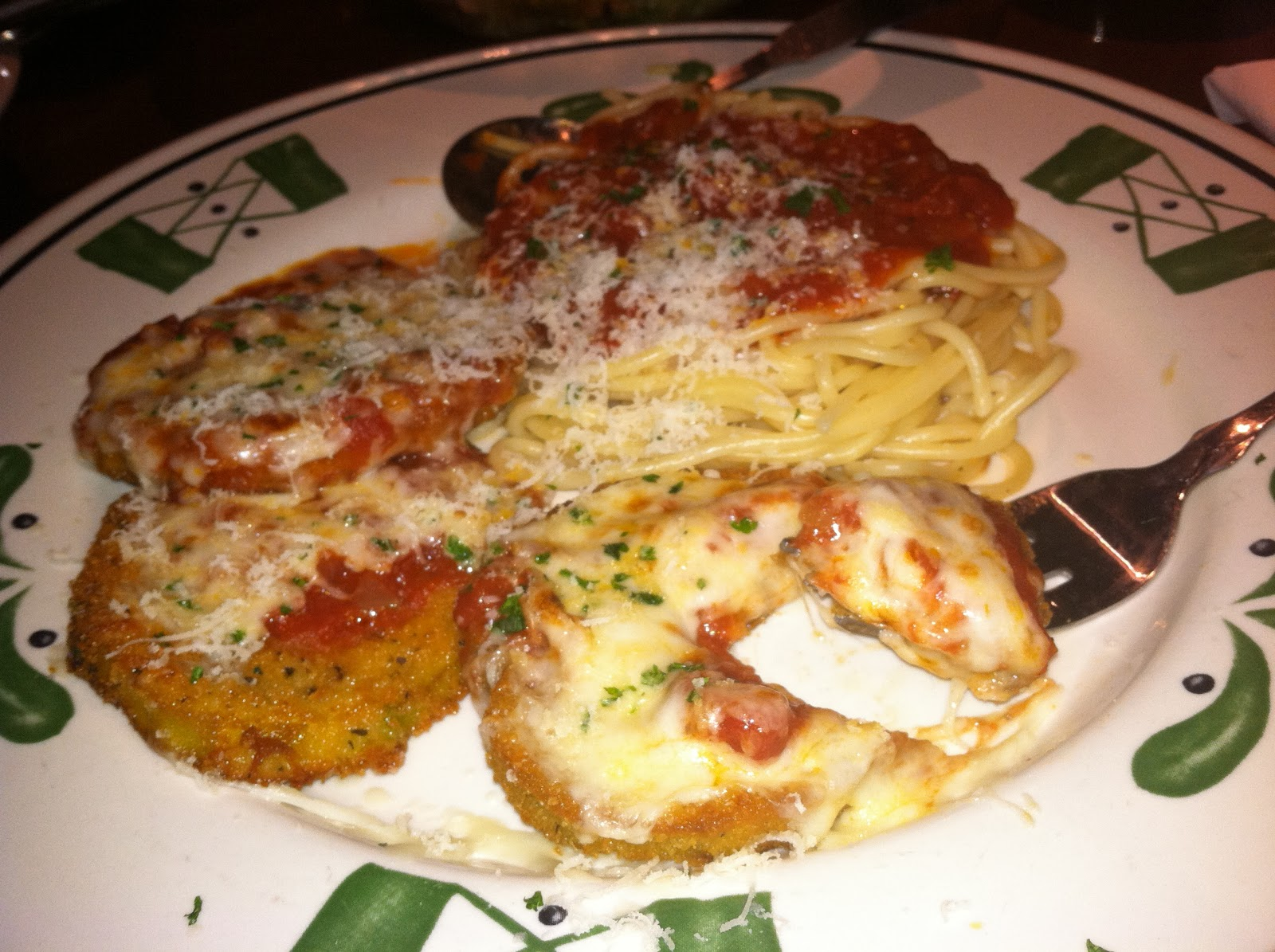 My Eggplant Parmesan at Olive Garden. It was outstanding. So far my ...