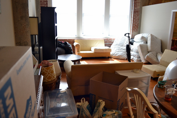 This loft has several items that need to be packed and moved.