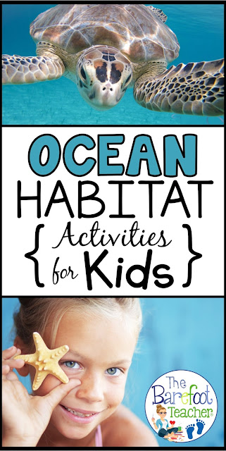 Find more Ocean Activities than you know what to do with for your Preschool & Kindergarten aged littles! I've included art & crafts, books, freebies, literacy activities, & more.
