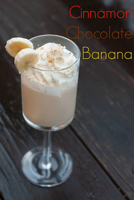 Cinnamon chocolate banana cocktail, chocolate whipped vodka, rum chata, banana liqueur, Godiva white chocolate liqueur