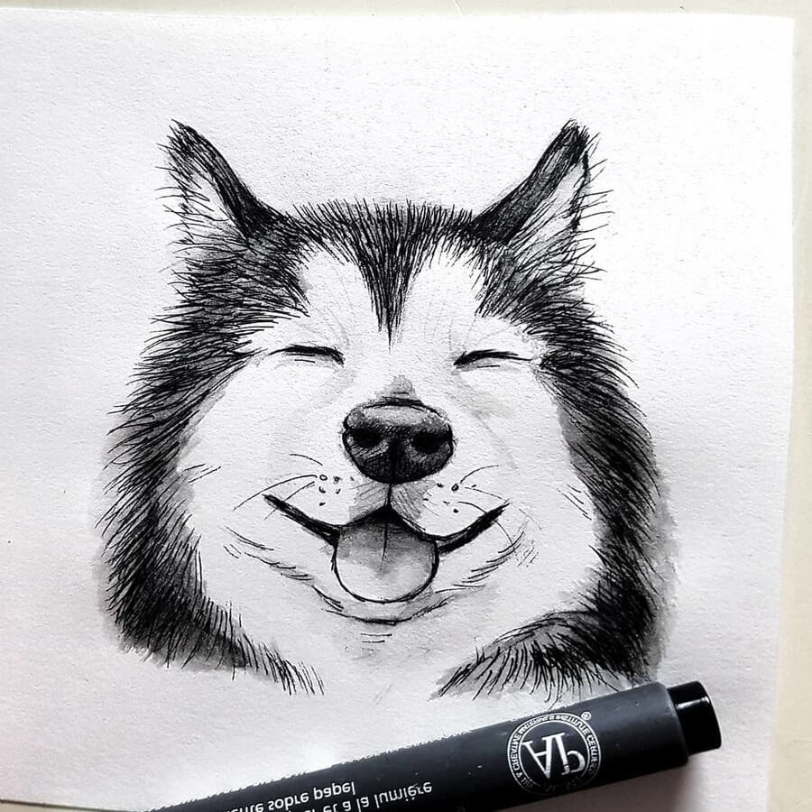 09-The-smiling-Husky-Kleevia-Animal-Art-www-designstack-co