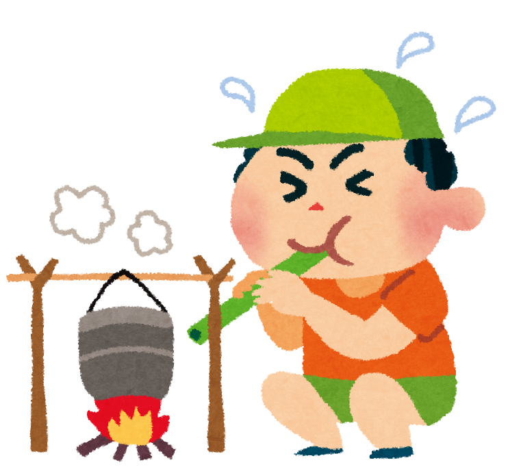 キャンプのイラスト「飯盒炊爨・男の子」 | かわいいフリー素材集 いらすとや