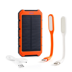 GRDE 10000mAh Solar Charger,Solar Power Bank Dual USB Rain-Resistant Shockproof,Solar Powered Phone Charger for iPhone,iPod,iPad,Samsung,GPS,Camera;Two Mini Lamp for Free