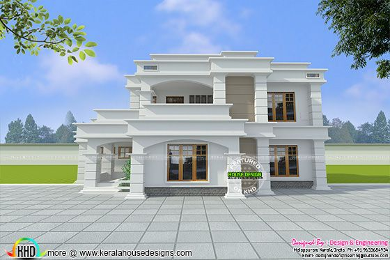 Decorative Flat Roof Home Architecture Kerala Home