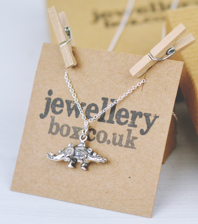 Jewellery Box silver Stegosaurus dinosaur Necklace