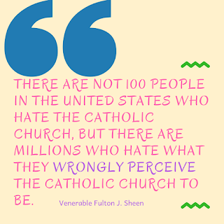 Big quotation marks followed by a quote by Venerable Fulton J. Sheen