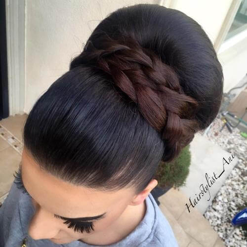 sleek big ,bun messy ,updos for long hair