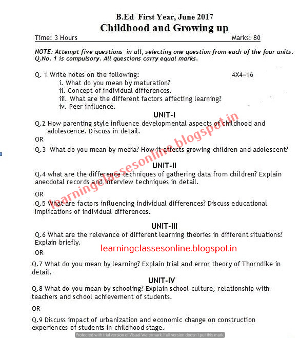 Childhood and Growing up 2017 B.Ed Question Papers