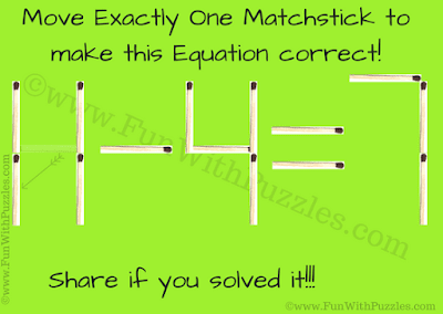 This is the answer to the matchstick puzzle in which one has to move one matchstick to make the given equation correct