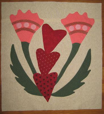 appliqued Coxcomb and Hearts for Linda Brannock's Flowers Quilt